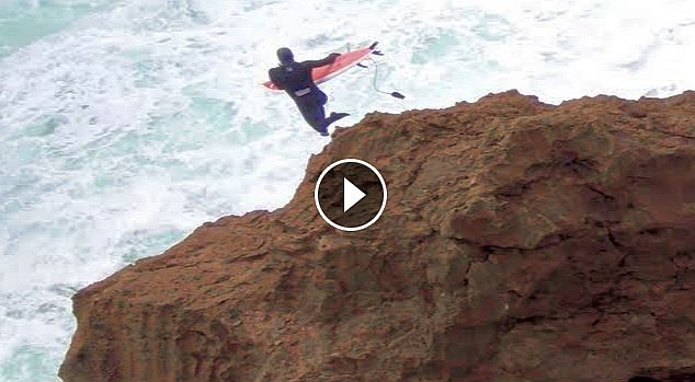 Nazare jumping the rocks