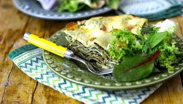 Receita de lasanha de espinafres, requeijão e pesto