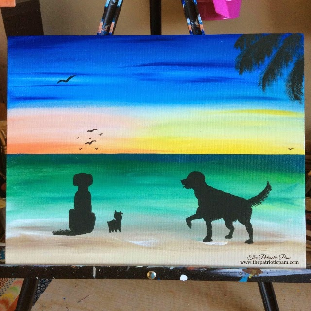 golden retrievers, yorkie, beach, ocean, sunset, sunrise, dogs, puppies, painting, acrylic painting