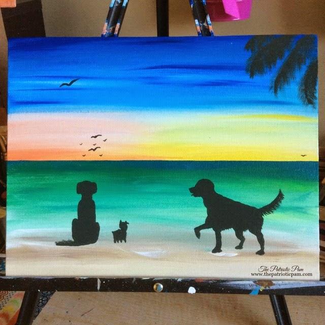 golden retrievers, yorkie, beach, ocean, sunset, sunrise, dogs, puppies, painting, acrylic painting