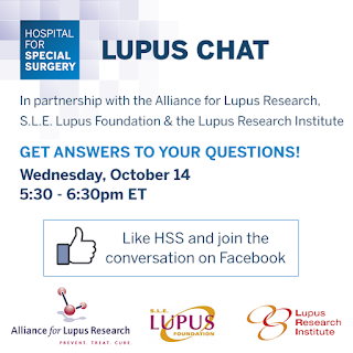 Hospital for special surgery: Lupus Chat. In partnership with the Alliance for Lupus Research, SLE Lupus Foundation & the Lupus Institute, get answers to your questions! Wednesday, October 14 5.30-6.30 ET Like HSS and join the conversation on Facebook.