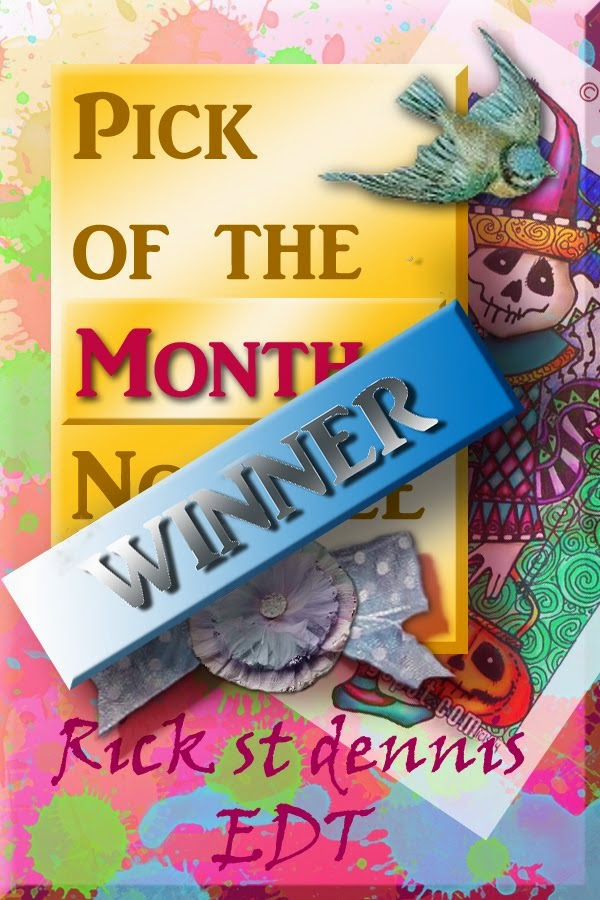 I was Pick of the Month for my card featuring Standing Busy Bee