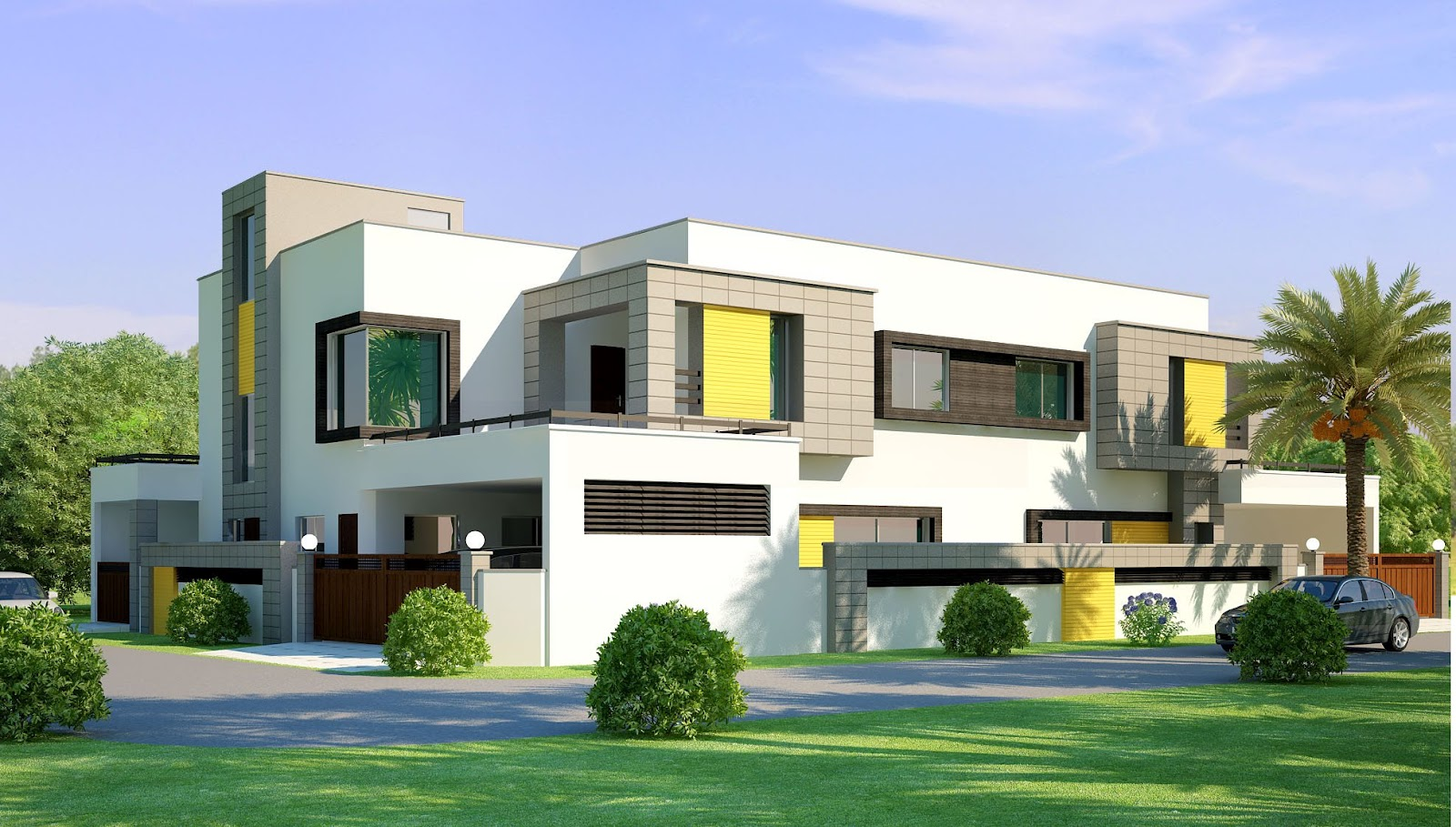 3d front 1 kanal corner plot 2 house for Modern beautiful house
