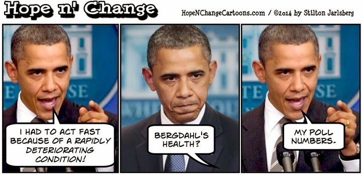 obama, obama jokes, political, cartoon, humor, hope n' change, hope and change, stilton jarlsberg, conservative, bergdahl, terror, prisoner, swap, taliban