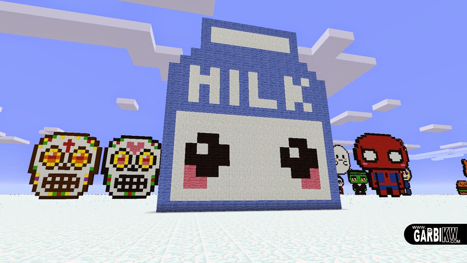 のピクセルアート   どのようにかわいいミルクを作るために 的像素艺术   如何做一个可爱牛奶 Как сделать Kawaii Молоко Minecraft  Pixel Art   Comment Faire Un ...