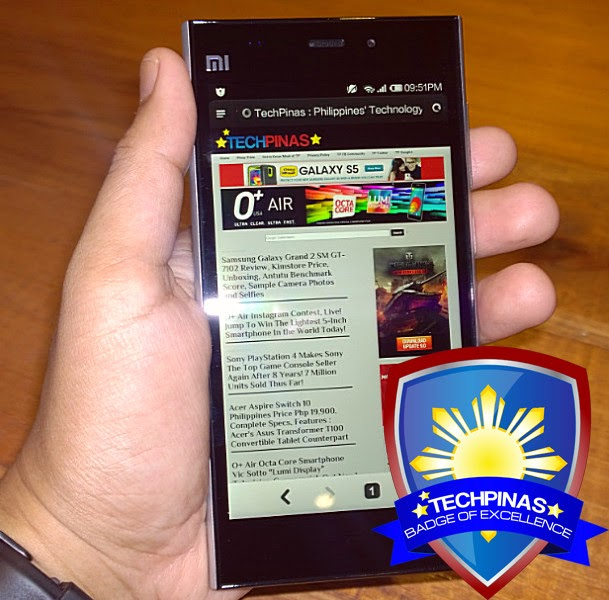 Xiaomi Mi3, Xiaomi Mi3 Philippines, TechPinas Badge of Excellence