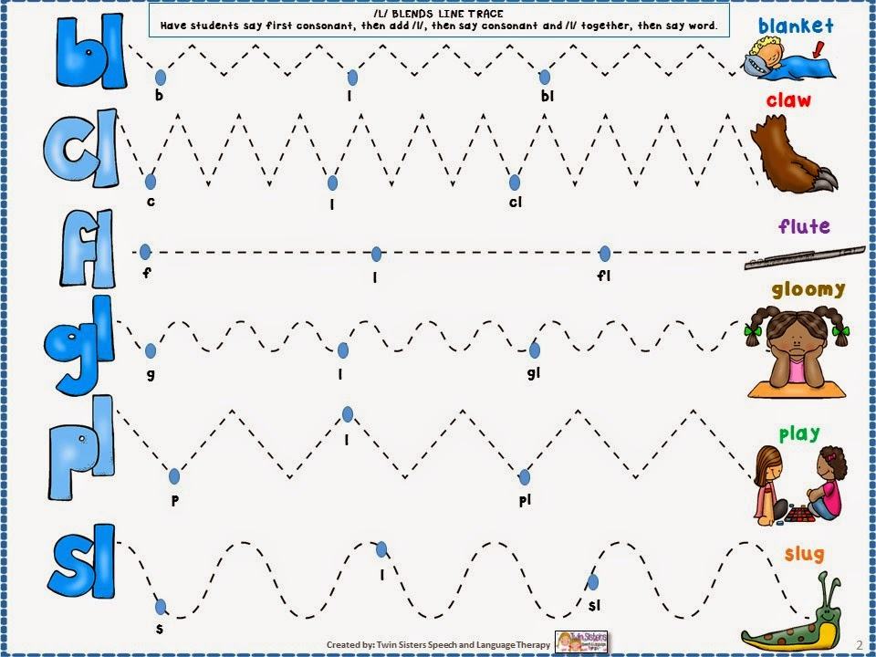 Speechie Freebies Mixed L Blends Articulation Freebie – L Blends Worksheets