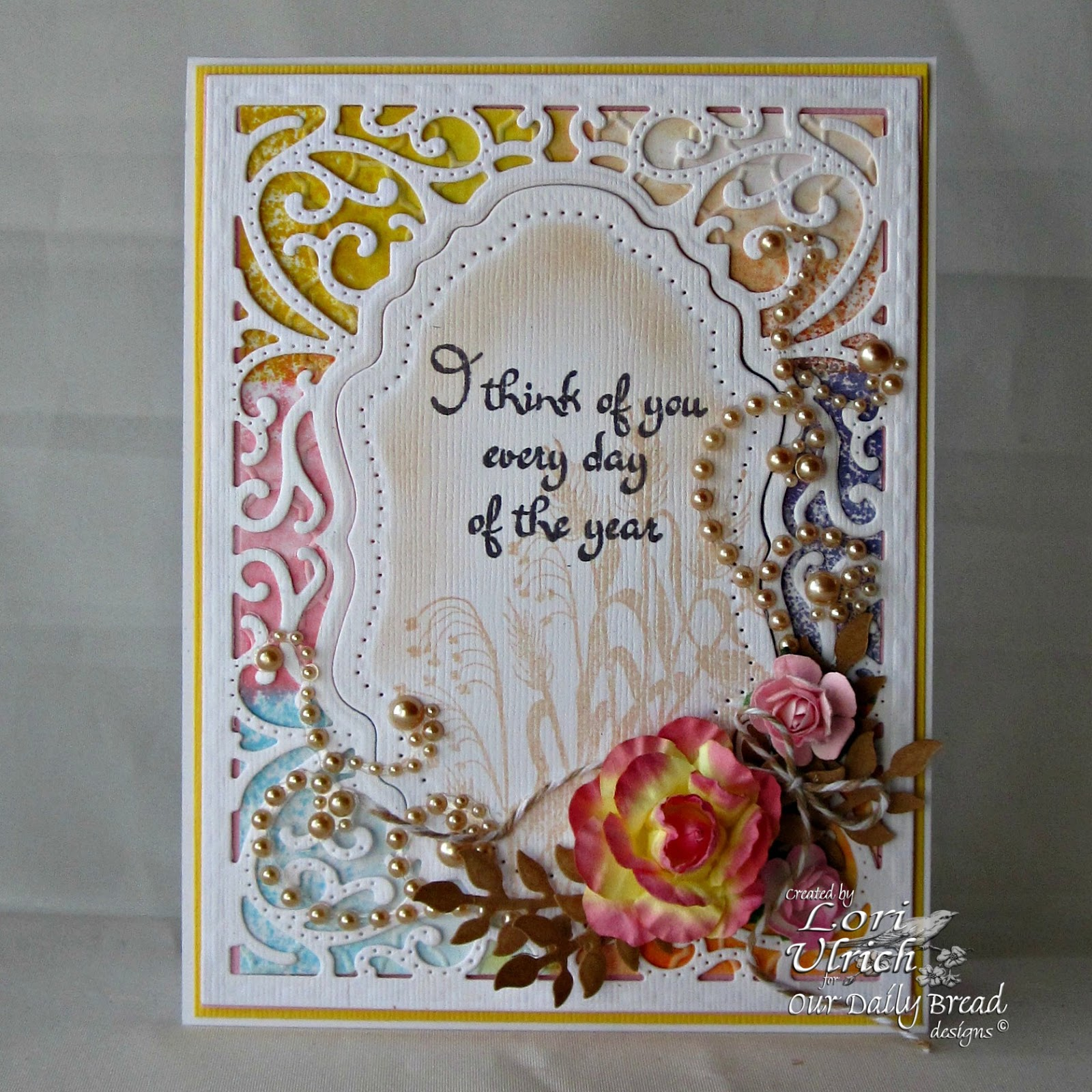 Stamps - Our Daily Bread Designs Miss You, ODBD Custom Vintage Flourish Pattern Dies, ODBD Custom Fancy Foliage Die