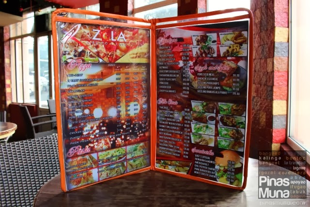 Zola Baguio New Menu