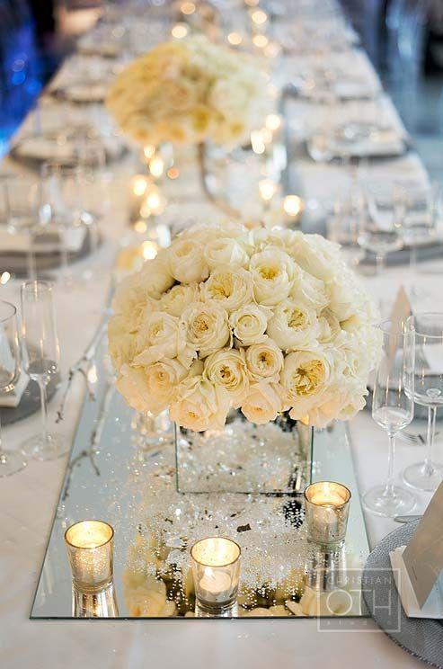 Idéé et photo décoration mariage centre de table en verre