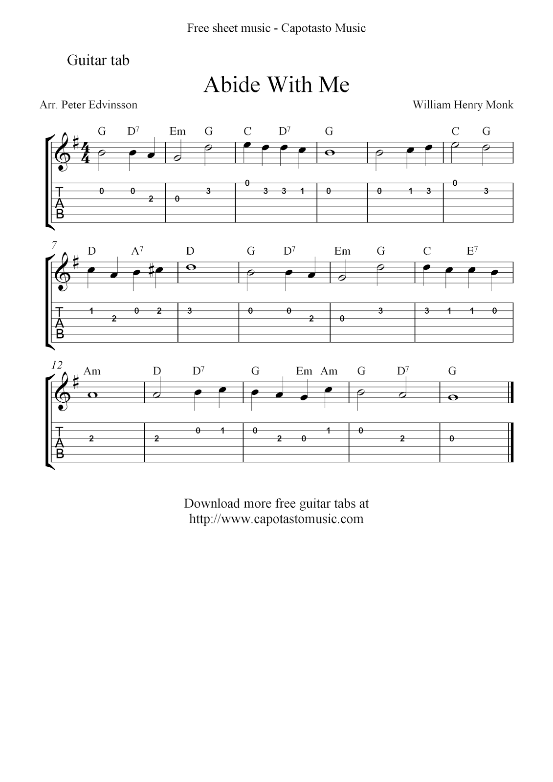 Free easy guitar tab sheet music notes, the Christian hymn Abide With Me