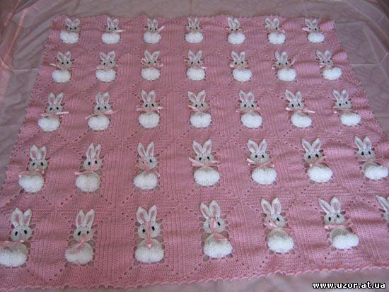 tavsanli battaniye Tavşan motifleri ile örülmüş çok şirin bebek battaniyesi
