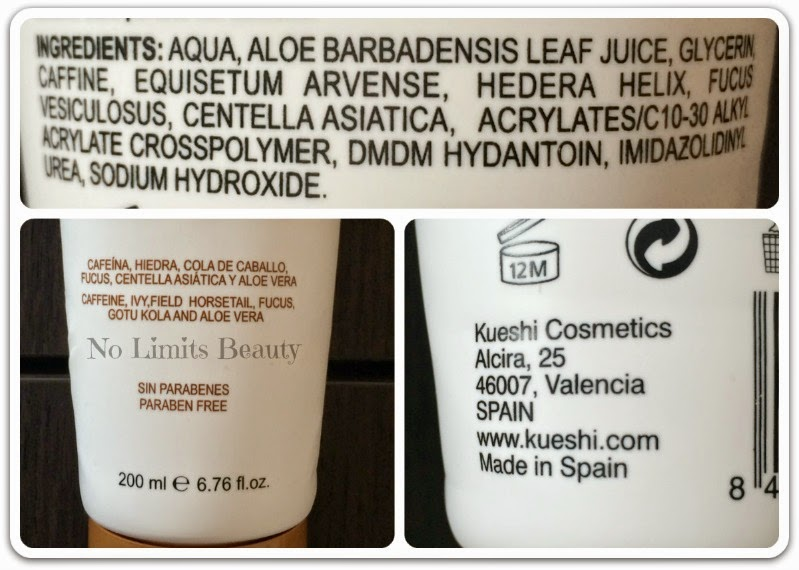 Reducer Booster - Gel Reductor de Kueshi (ingredientes)