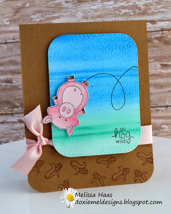 Funny Pig card by Melissa | Inky Paws #19 Watercolor Challenge at Newton's Nook Designs
