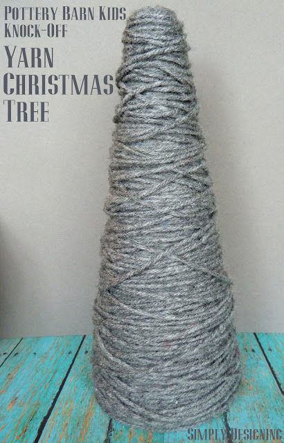 Pottery Bark Kids Inspired Yarn Wrapped Christmas Tree #christmas #christmastree #yarn #holidaydecor
