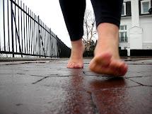 Woman Barefoot Rain