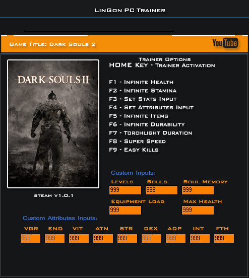 Dark Souls II v1.0 Steam Trainer +23 [LinGon]