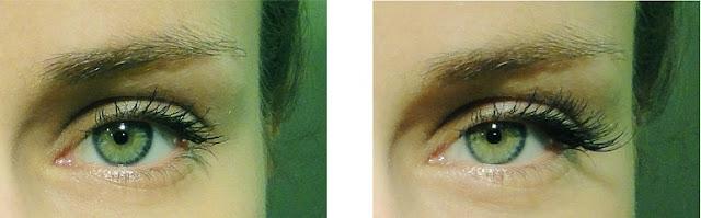 False eyelashes before / after