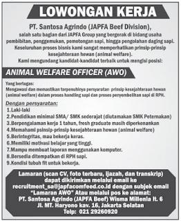 Lowongan Kerja PT. Santosa Agrindo (JAPFA Beaf Division)