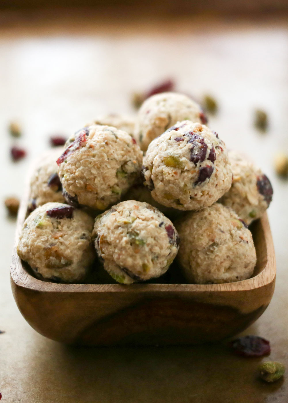 Cranberry Pistachio Cookie Dough Bites are perfect for snacking or for dessert! - recipe by Barefeet In The Kitchen