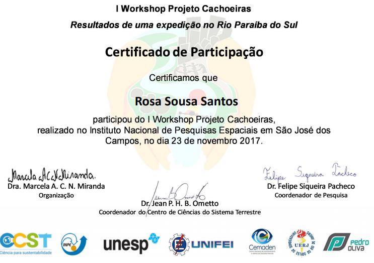 I Workshop do Projeto Cachoeiras