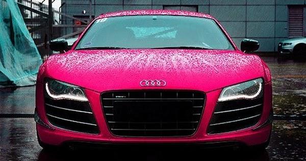 Pink Audi Car Raining Wet Front View