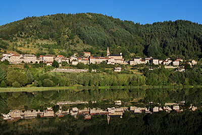 Image of Saint Martial village and lake in Ardèche, France