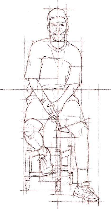 Drawing  Whickham  Gateshead  Sight Measuring The Seated
