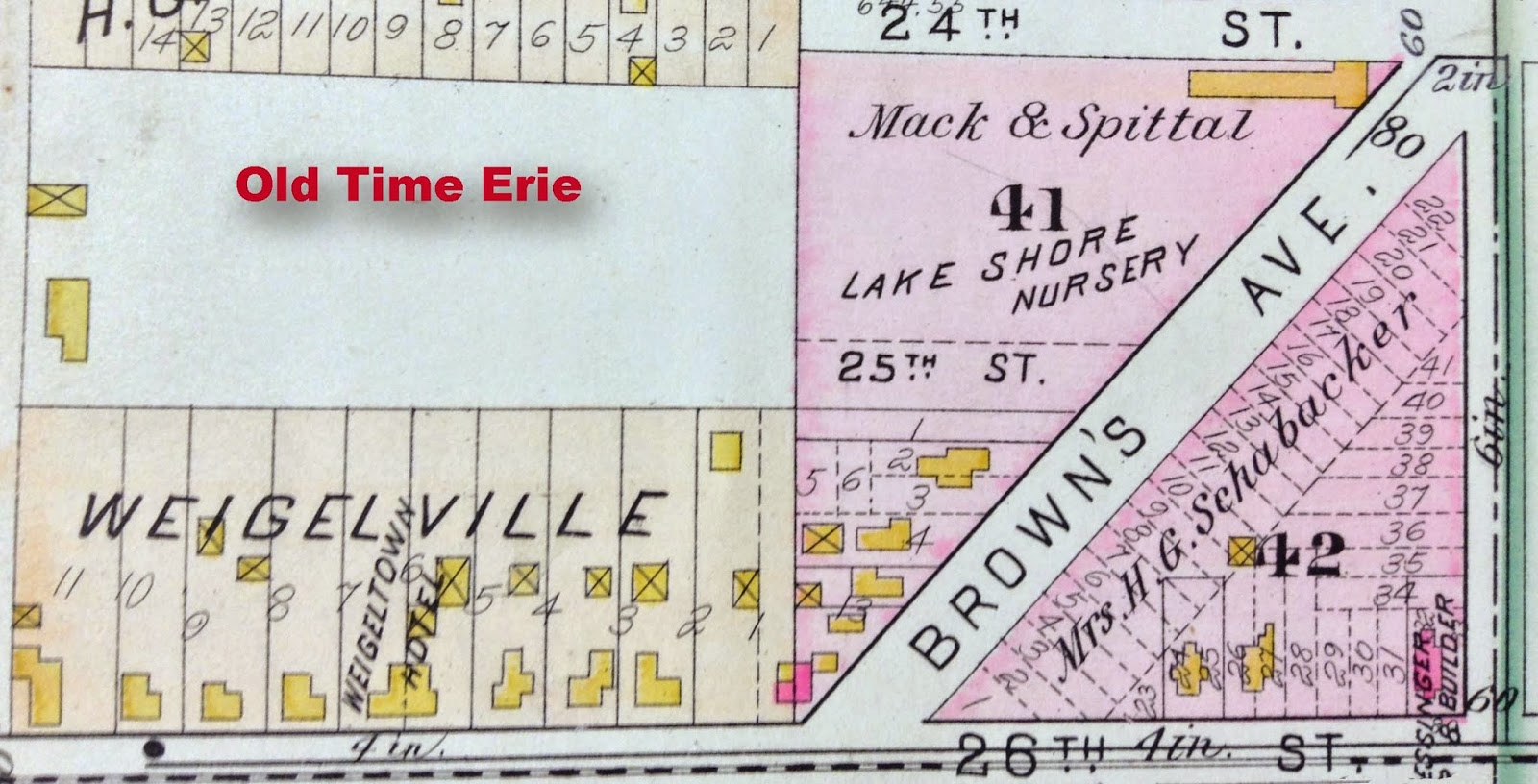 detail from a 1900 sanborn fire map at 26th brown ave in erie pa