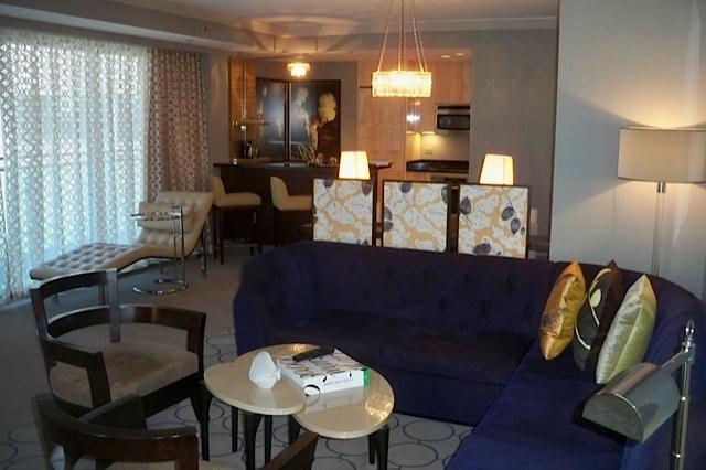 The hopeful traveler wraparound terrace suite living room for Terrace suite cosmopolitan