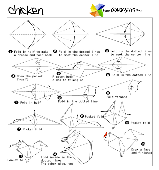 Chicken Origami Simple Instruction And Diagram Instructions Hover Mouse Over The Image To Zoom In Or Click Enlarge