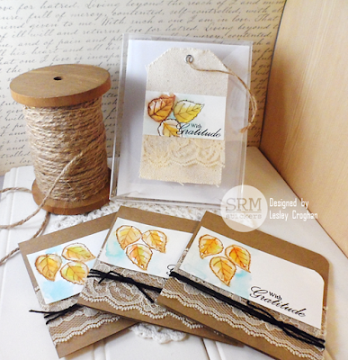 SRM Stickers Blog - Leaf Gift Card Set by Lesley - #cardset #cards #autumn #janesdoodles #autumnblessings #lace #twine #giftset #A2box
