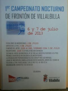 Cartel I Campeonato Nocturno Villalbilla 2013