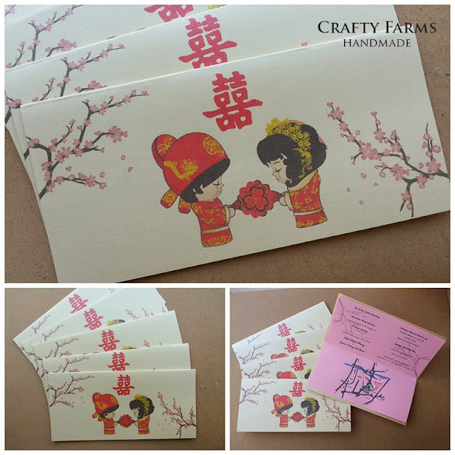 cute chinese traditional couple with cherry blossom wedding card design