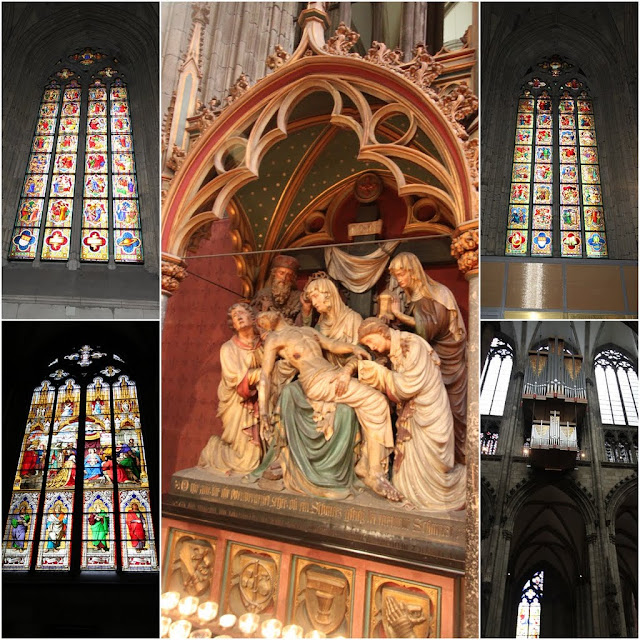 From top to bottom Left Column Life Christ Window 2005 and Worship Window 1846 and 13 Station way of the Cross Lamentation on the big column at Cologne Cathedral in Cologne, Germany