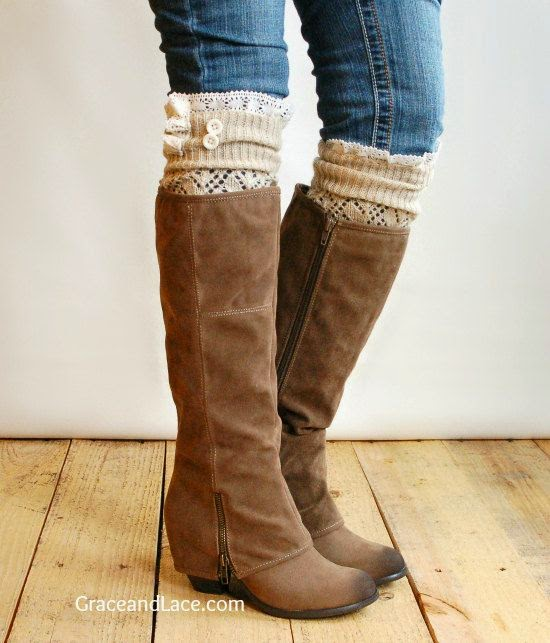 The Lacey Lou Natural Open-work Leg Warmers with ivory knit lace trim & buttons…
