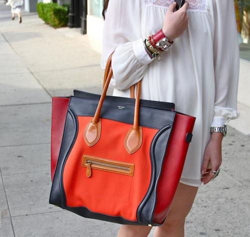 Trend: CELINE Boston Tote trio red, black blue orange combination.