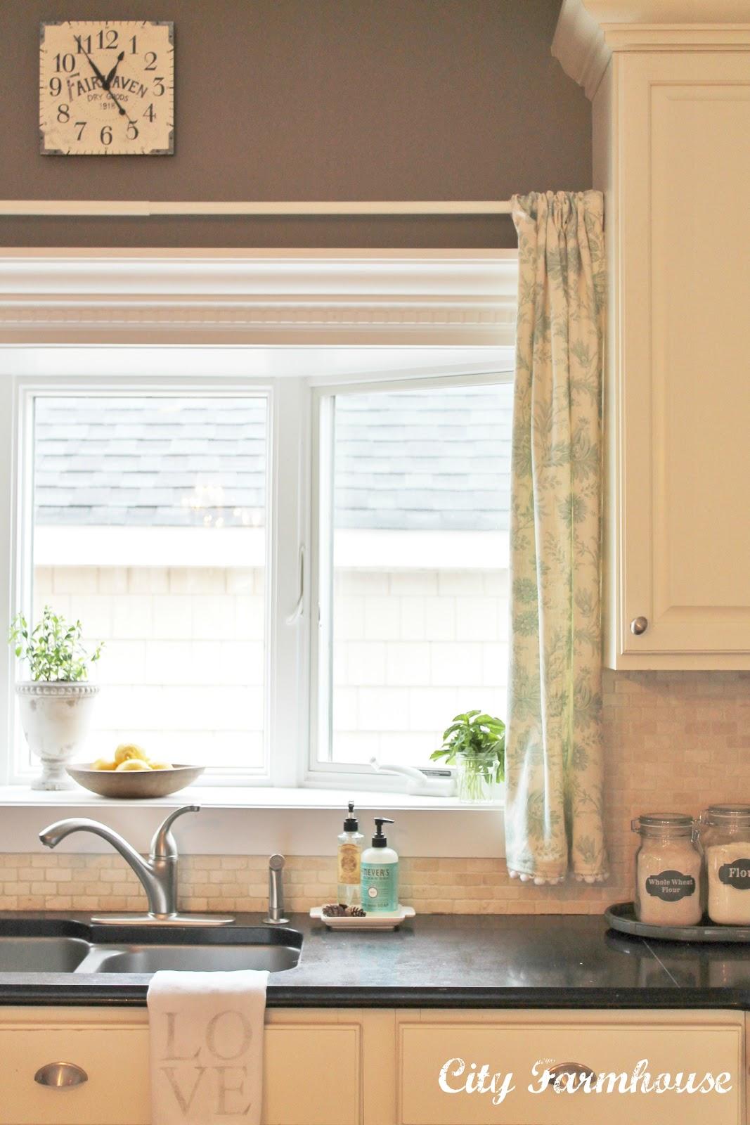 Linen pom pom cafe curtains city farmhouse for Farmhouse windows