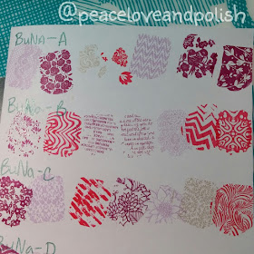 stamping swatches, BuNa A, B, C