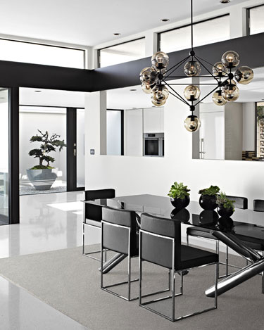 vera wang los angeles home house modern dining room black white chrome decorating