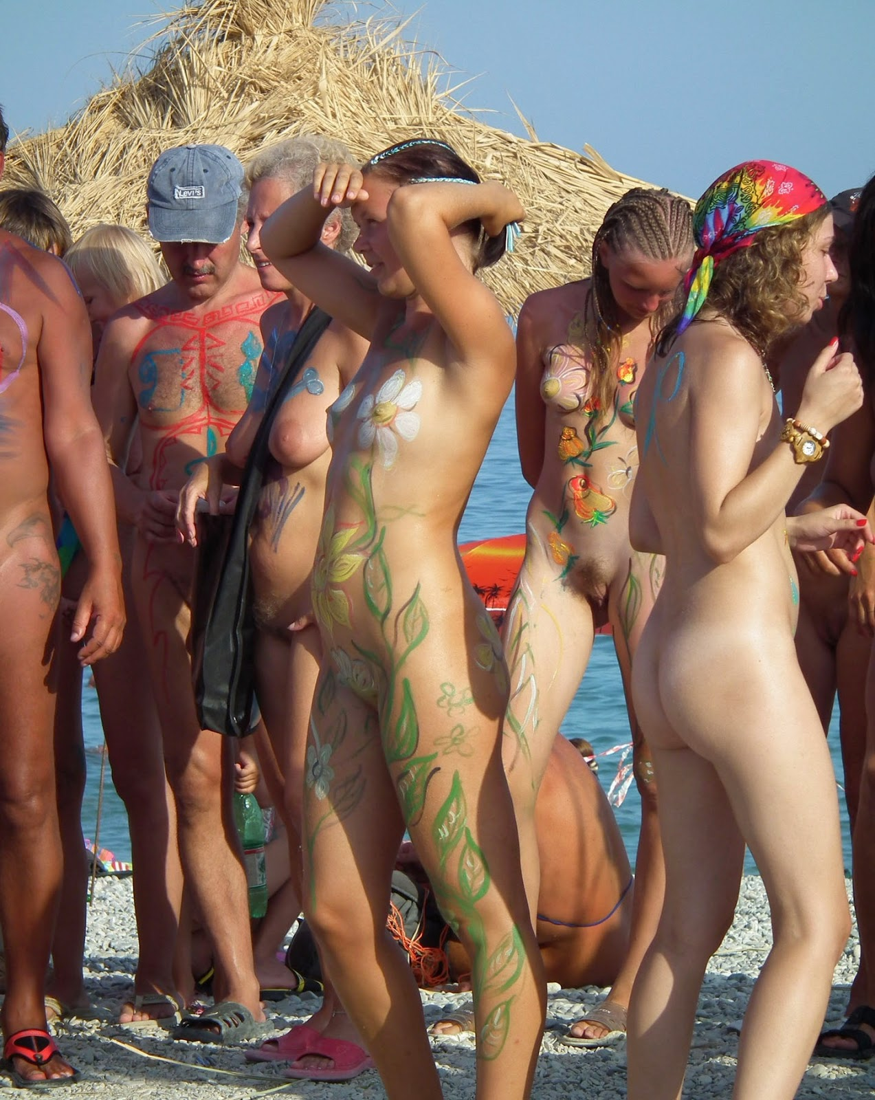 Family at nude beach not