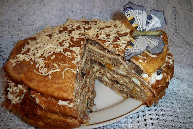 Блинный торт с грибами - оригинально и сытно!