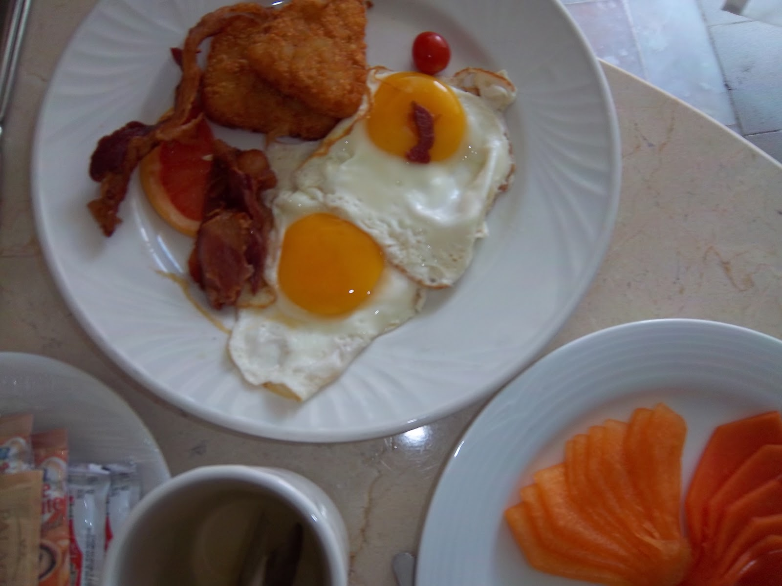 Fish, Bacon and Eggs with Fruit