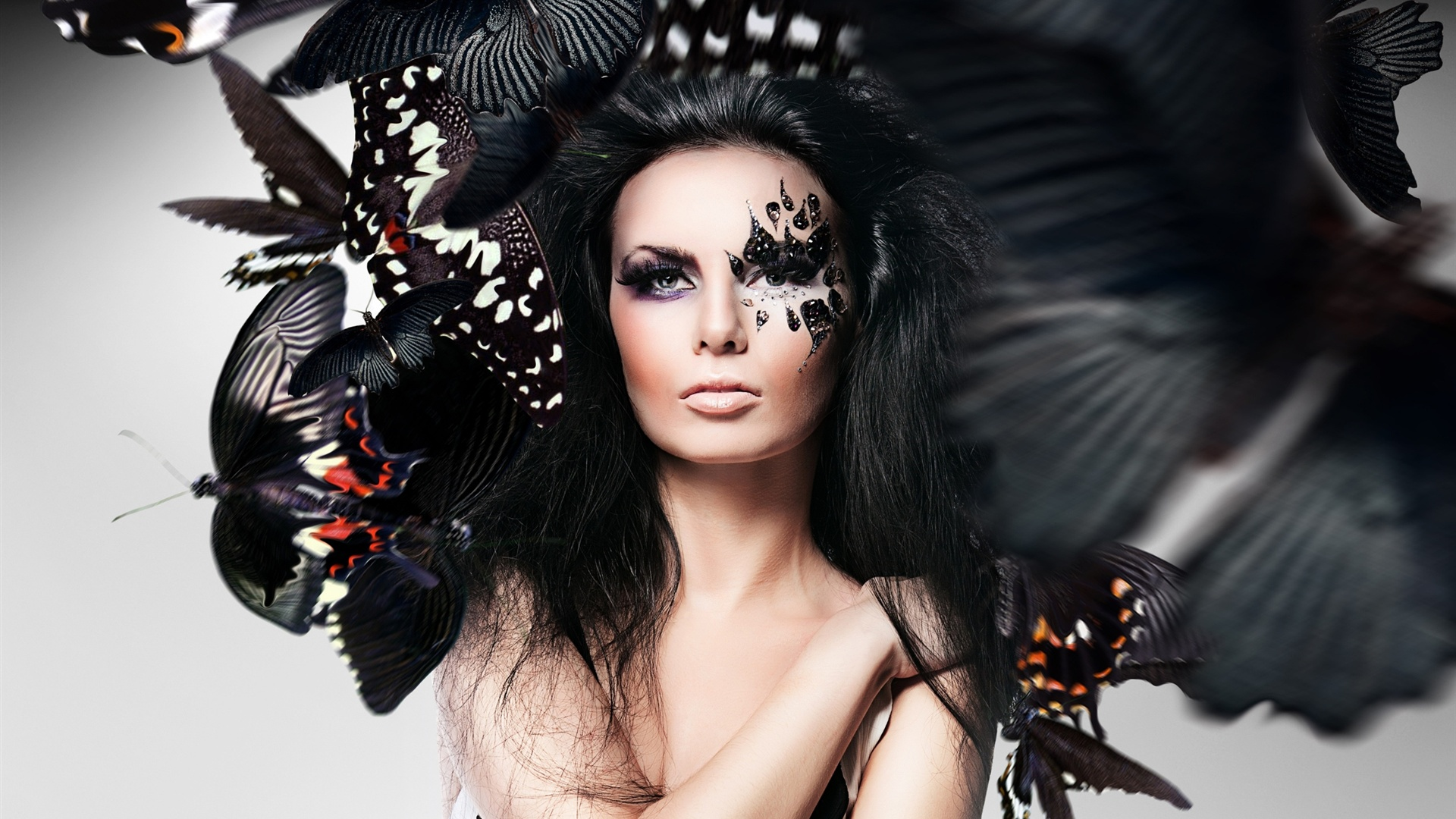 Girl Makeup Face Butterfly Photoshop Creative Design HD Wallpaper title=