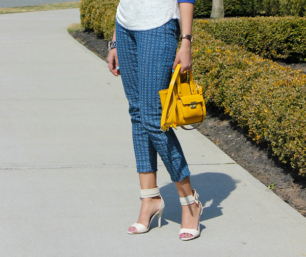 Jcrew linen baseball tee in lovebirds, Lucky Brand jeans, Phillip Lim for Target yellow satchel, Spring Outfit Ideas