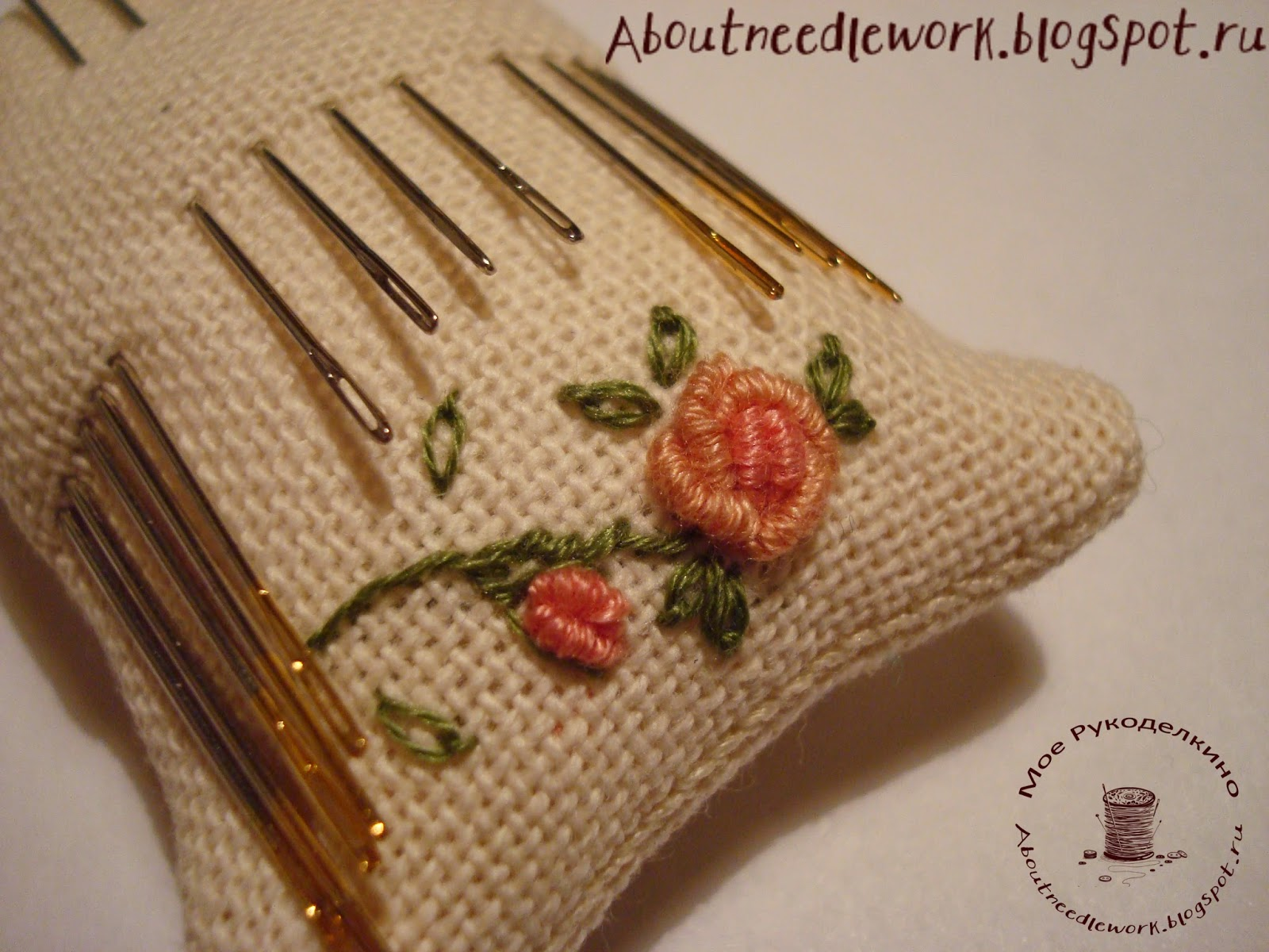 Игольница: вышивка рококо