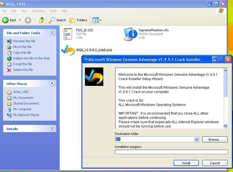Window7 version 7600 and XP-Pro wga Crack.