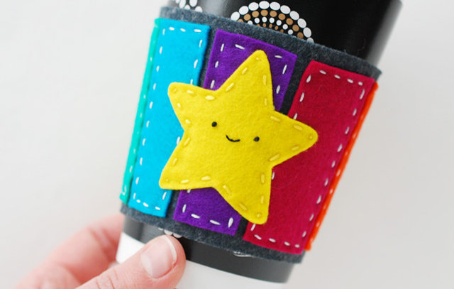 DIY Craft Project - Mario Inspired Handmade Rainbow Road Coffee Cuff via Wild Olive - DIY Craft Blog Round Up