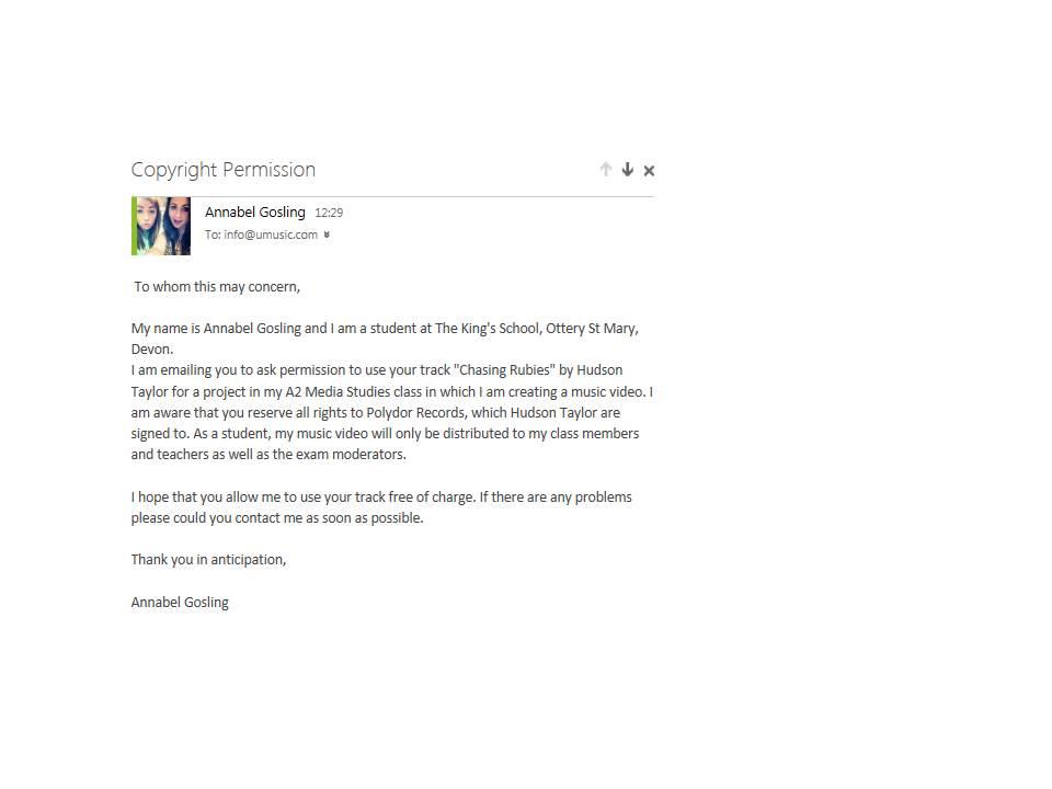 A2 Media Blog Copyright Permission Letter