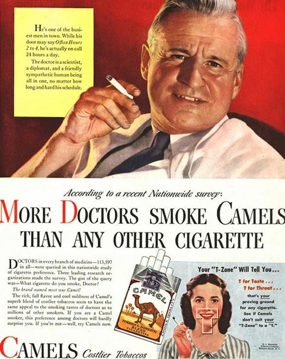 Propaganda dos Cigarros Camel (Recomendado por médicos) em 1944.